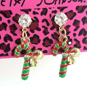 Betsey Johnson Candy Cane Earrings